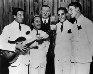 "The Hoboken Four (Sinatra far right) with Major Bowes (center) of the ""Major Bowes Amateur Hour"" Radio program"