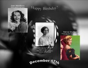 Happy Birthday to movie actresses 12 17