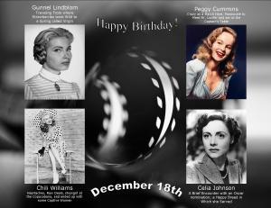 Happy Birthday to movie actresses 12 18