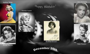 Happy Birthday to movie actresses 12 20