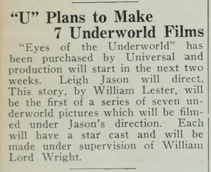 Eyes of the Underworld article Tuesday April 24 1928 Film Daily