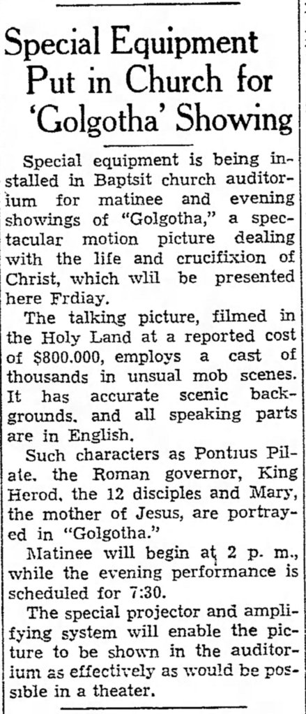 Golgotha church announcement The_Coshocton_Tribune_Wed__Aug_9__1939_