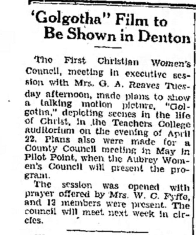 Golgotha community announcement Denton_Record_Chronicle_Wed__Mar_13__1940_