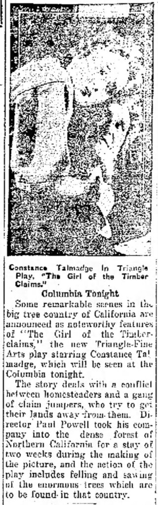 Girl of the Timber Claims Portsmouth_Daily_Times_ Portsmouth, Ohio Mon__Apr_9__1917_