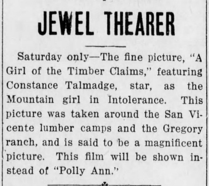 Girl of  the Timber Claims Santa_Cruz_Evening_News_ Santa Cruz, California Sat__Nov_3__1917_