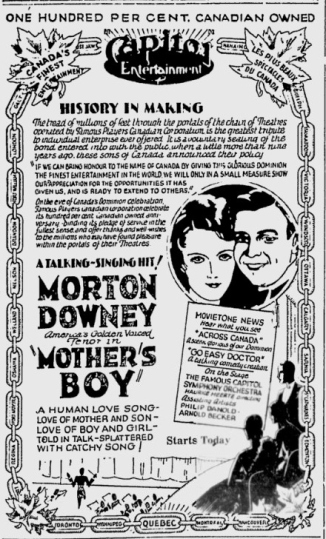 mothers boy ad quebec canada 1929