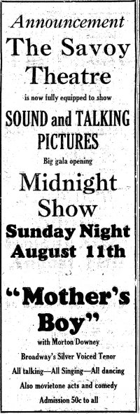 Mother's Boy ad Simpson_s_Leader_Times_Kittanning, Pennsylvania Fri__Aug_9__1929_