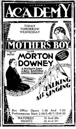 Mother's Boy ad The_Daily_Mail_Hagerstown, Maryland Mon__Jul_15__1929_