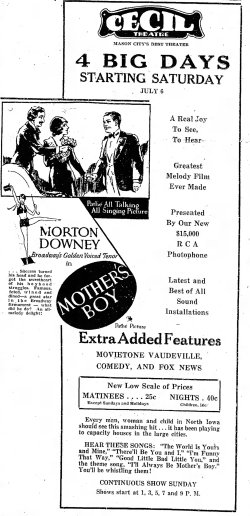 Mother's Boy ad The_Mason_City_Globe_Gazette_ Mason City, Iowa Sat__Jul_6__1929_
