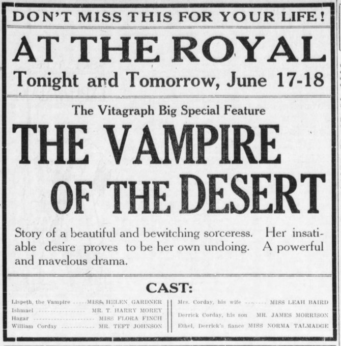Vampire of the Desert Escanaba_Morning_Press_ Escanaba Michigan Tue__Jun_17__1913_