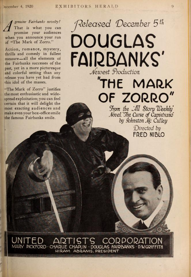 Mark of Zorro Exhibitors Hearld full page