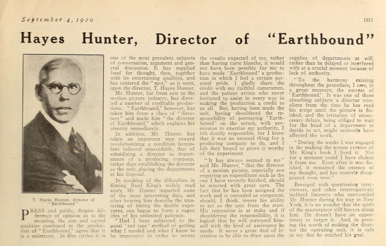 Earthbound Director Hayes Hunter Motion Picture News September 4, 1920.php