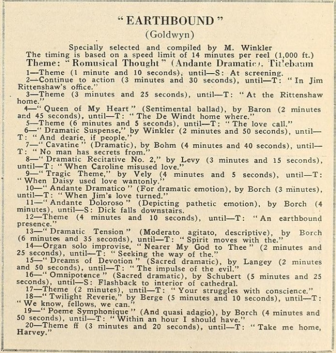 Earthbound musical directions Motion Picture News October 16 1920