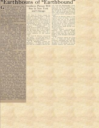 Earthbound review Motion Picture News August 21, 1920
