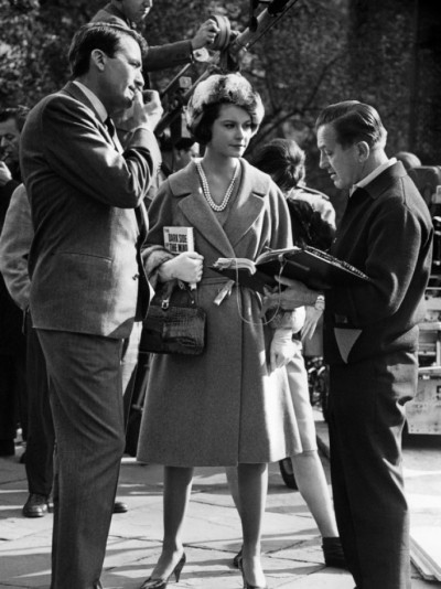 Gregory-Peck-Diane-Baker-and-Edward-Dmytryk-on-location-for-Mirage-