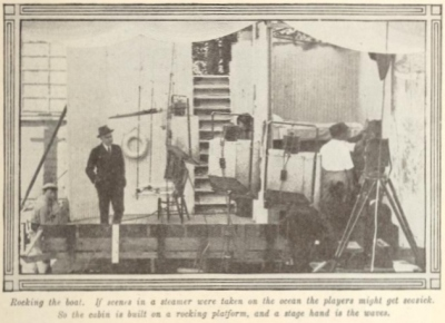 Picture-Play Magazine, behind the scenes (rocking platform to simulate waves), January, 1917