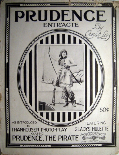 Prudence the Pirate Sheet Music cover, from the Thanhouser Company Preservation, Inc., Image Gallery