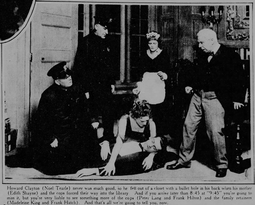Noel Tearle (playing dead), from the Broadway production of At 9:45; New York Tribune, New York, New York, August 17, 1919